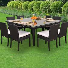 caluco maxime 8 person resin wicker patio dining set with glass