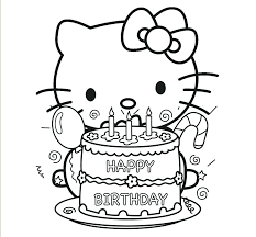 Hello Kitty Coloring Pages Online To Print Printable Happy Birthday