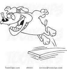 Cartoon Black And White Line Drawing Of A Bulldog Jumping Off Diving Board 6503 By Ron Leishman
