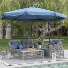 square offset patio umbrella red polyester shade mosquito netting