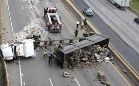 He Slid Probably 50-70 Yards Down The Highway'; Truck Overturns On I ...