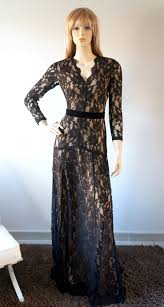 elegant long sleeves evening gown prom ball formal black lace