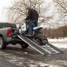 Sled Deck Ramp Width by Black Ice Tri Fold Snowmobile Trailer Ramps Discount Ramps