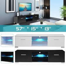 WhiteBlack TV Unit Cabinet Stand LED Light High Gloss Table