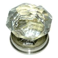 poignée de porte bouton diamant verre transparent castorama