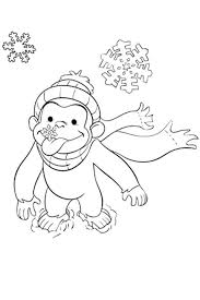 Curious George Coloring Pages Birthday Photos Color Free Printable Animals Monkey Art Pictures Winter Snow