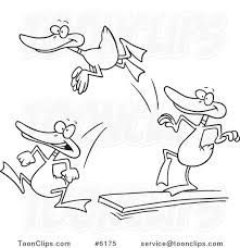 Cartoon Black And White Line Drawing Of Mallard Ducks Jumping Off A Diving Board 6175 By Ron Leishman