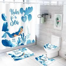 4 stück meerjungfrau bad set bad anti slip teppich boden