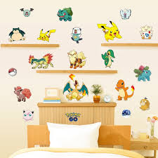 Kids Bedroom Decor 3d Pokemon Wall Stickers Removable Children Decals Home Adhesive Living Room