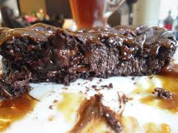 Vegan Chocolate Pudding Cake with Salted Caramel Sauce for e