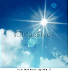 Realistic Sun Flare With Clouds On Blue Sky