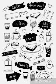 fototapete gezeichnet kaffee icons mit kaffee kuchen desserts und süßigkeiten