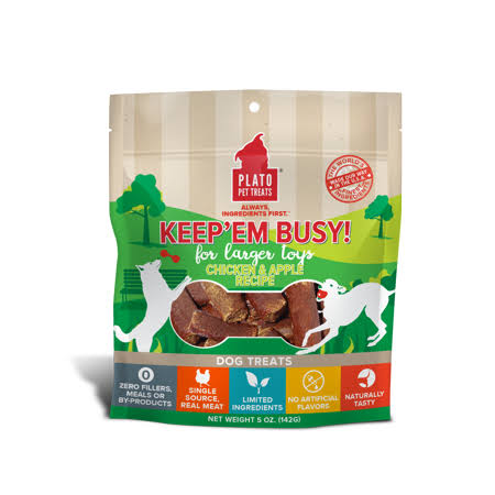 Plato Keep 'Em Busy Dog Treats 5 oz - Chicken and Apple - Large
