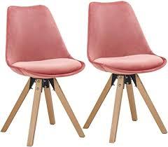 duhome 2er set stuhl esszimmerstühle küchenstühle farbauswahl mit holzbeinen sitzkissen esszimmerstuhl retro 518m farbe pink material samt
