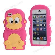 Cute 3D Monkey Shaped Soft Protective Silicone Jelly Case for