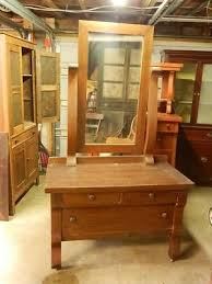 wonderful antique oak dresser mirror with beautiful scroll