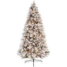 Fast Shape Flocked Ponderosa Pre Lit Christmas Tree