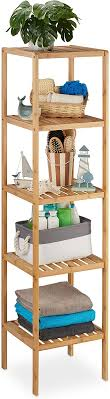 relaxdays badregal bambus standregal badezimmer küche bambusregal mit 5 offenen ablagen hbt 140 x 34 x 33 cm natur braun