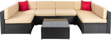 choice products 7pc wicker outdoor sectional sofa set