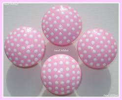hand painted knob dresser drawer pink with white polka dots on luulla