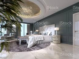 elegante schlafzimmer innenraum mit großen bequemen bett und sofa mit schminktisch und pflanze stockfoto und mehr bilder behaglich