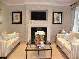 Photo Of Classic Elegant Stripes Beige Living Room Lounge With Feature Wall Wallpaper And Coffee Table