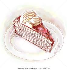 Hand Drawn Slice of Cake Cake Slice Drawing Vintage