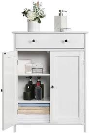 yaheetech badschrank badezimmerschrank küchenschrank kommode aufbewahrungsschrank mit schublade und doppeltür 60 x 30 x 80 cm lbh weiß