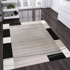 teppich mit karierter umrandung in grau weiß schwarz vimoda homestyle