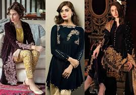 Latest Pakistani Fashion Trend Of Simple And Fancy Velvet Dresses 2018