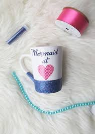 This Is A Cute Mermaid At Heart Glitter Coffee Mug Using Mix Of Blue And Pink To Match The Cup Design