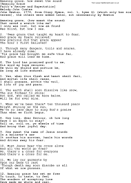 Old English Song Lyrics for Amazing Grace How Sweet The Sound