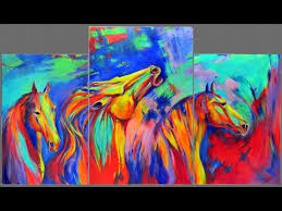 How To Paint Abstract Horses Expressionist Mustangs Acrylic Painting Video Timelapse