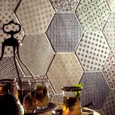 seville blue mix hexagon tiles porcelain superstore