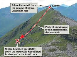 Climber found on his feet and reading a map after 1 000ft plunge