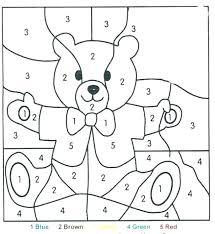 Color By Numbers Kindergarten Ing Easy Number Worksheets