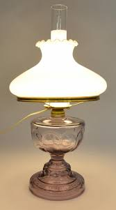 Rayo Oil Lamp Value by Antique Purple Hurricane Lamp With Fenton Milk Glass Ruffle Top