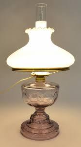 Fenton Blue Fairy Lamp by Antique Purple Hurricane Lamp With Fenton Milk Glass Ruffle Top