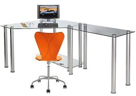 rta glass corner computer desk with 1 side extension table clear