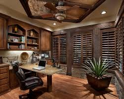 Breathtaking Office Space Idea Presented With Dark Brown Colored Blind Windows And Small Potted Plant In