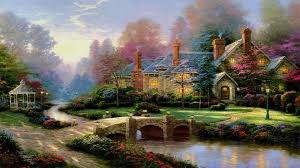 Thomas Kinkade Christmas Tree Village by Thomas Kinkade Summer Paintings Thomas Kinkade Wallpaper