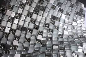 quantum argente noir brushed silver and glass mosaic tile