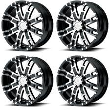 100 Helo Truck Wheels Set 4 20 HE835 Black Machined 20x9 5x55 18mm Dodge Ram