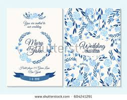 Blue Wedding Invitation Thank You Card Save The Date With Flowers Rose