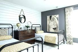 Shiplap Accent Wall In Bedroom Poplar Farmhouse With Drawer Nightstands And Bedside Tables