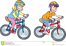 Riding Bicycle To School Clipart