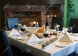 Table And Chairs Set For Dinner In A Casual Fine Dining Restaurant