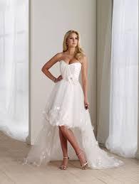 ivory wedding dresses high low flower taffeta strapless