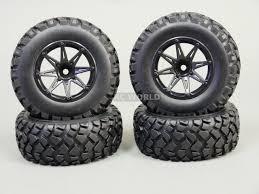 100 Rc Truck Wheels RC SHORT COURSE WHEELS RIMS 19 W KNOBBY Tires 4pc Black