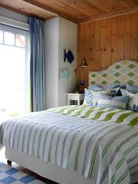 Cottage Bedroom Ideas by Comely Accent With Green Streaky Double Bed On Brown Wood Wall And